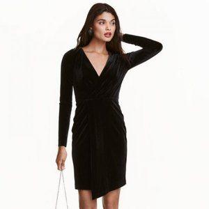 H&M black velvet long-sleeved wrap dress (6)
